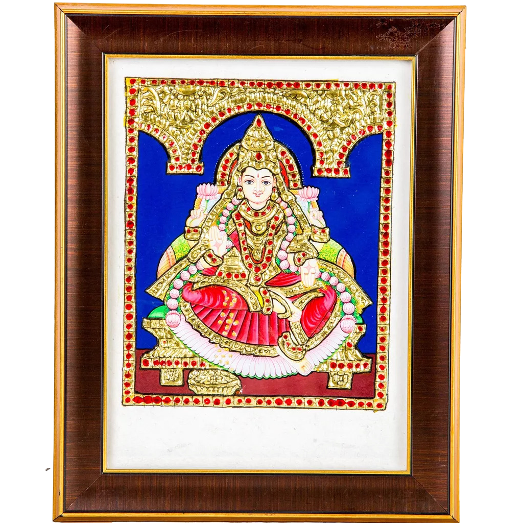"Lakshmi Indian Traditional Tamil Nadu Culture Tanjore Acrylic Base Painting - 20x15cms (8""x6"")"