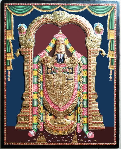 Perumal Antique Finish Tanjore Painting