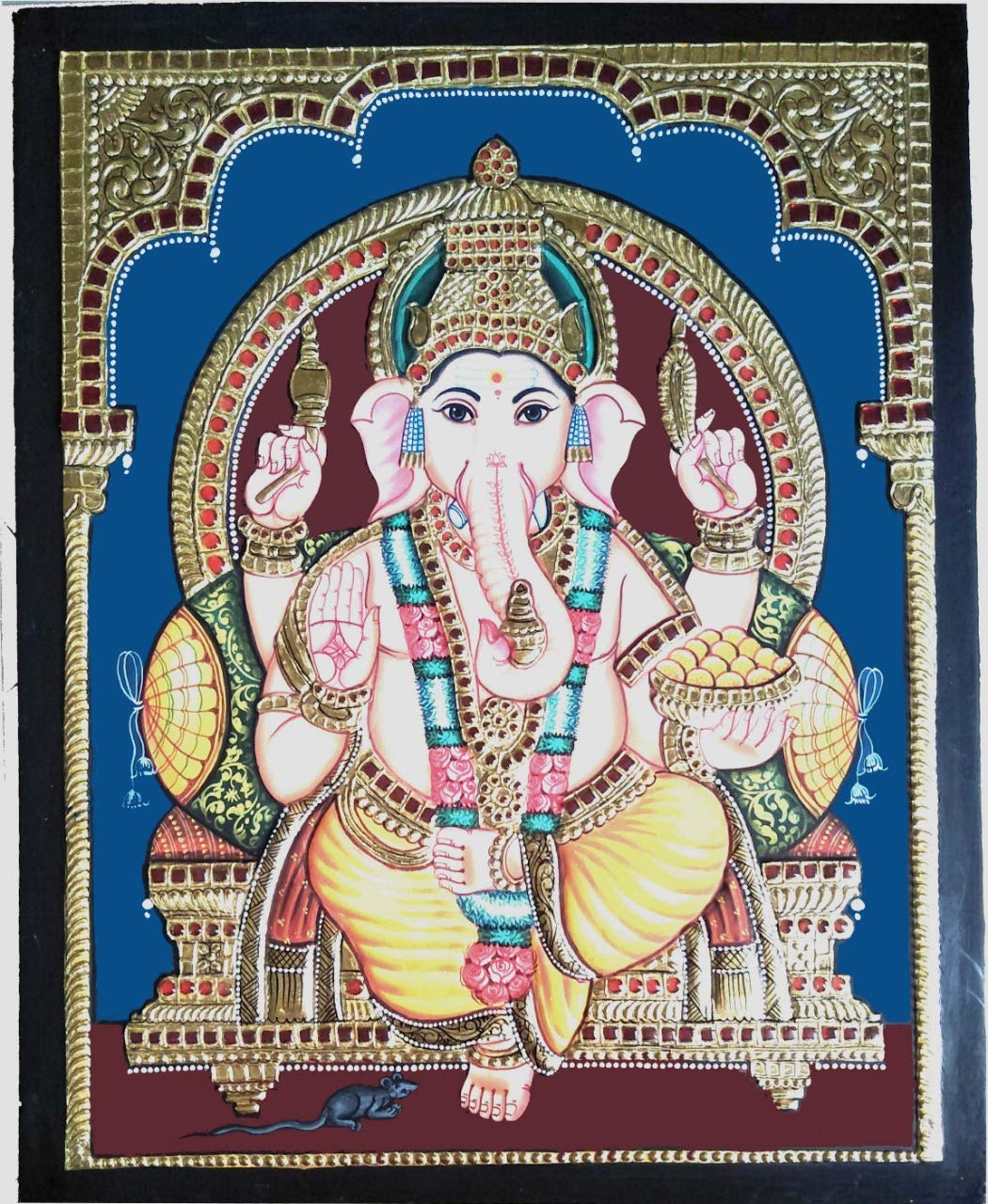 Vinayagar/Ganesh/Pillayar Antique Finish Tanjore Painting