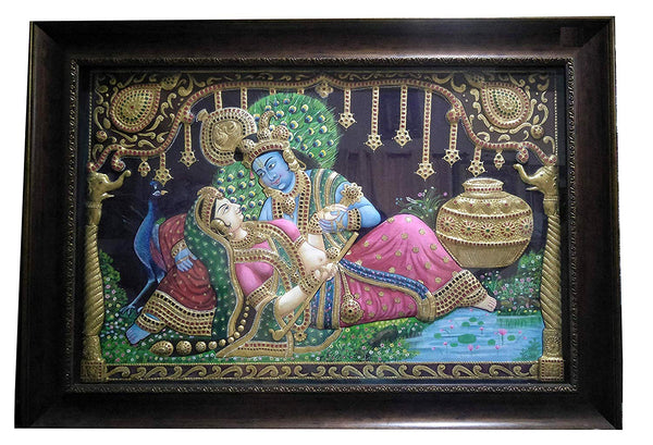 Radha Krishna 3D Super Embossed Antique Finish Tanjore Painting