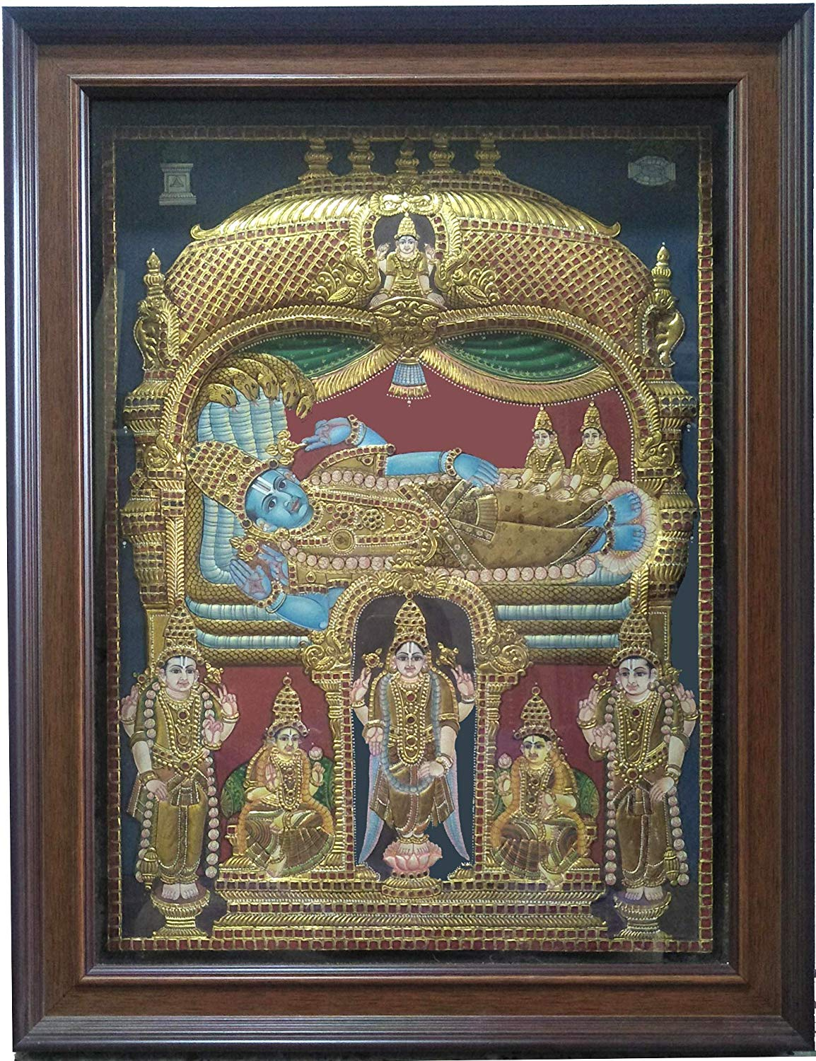 Bhadmanabha Swamigal Embossed Antique Tanjore Painting