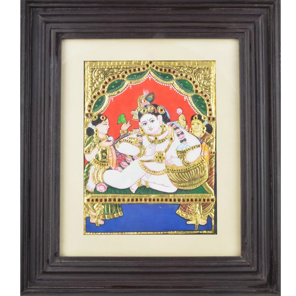 "Mangala Art Baby Pot Butter Krishna Indian Traditional Tamil Nadu Culture Tanjore Painting - 33x29cms (13""x11.5"")"