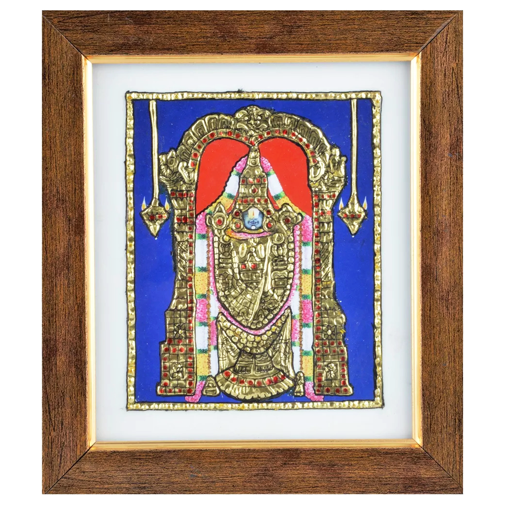 "Mangala Art Balaji Indian Traditional Tamil Nadu Culture Tanjore Acrylic Base Painting - 19x16cms (7.5""x6.5"")"