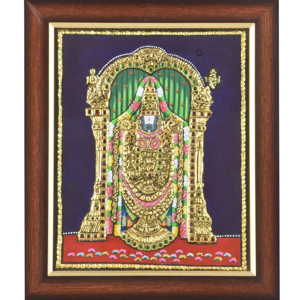 "Mangala Art Balaji Indian Traditional Tamil Nadu Culture Tanjore Painting - 20x25cms (8""x10"")"