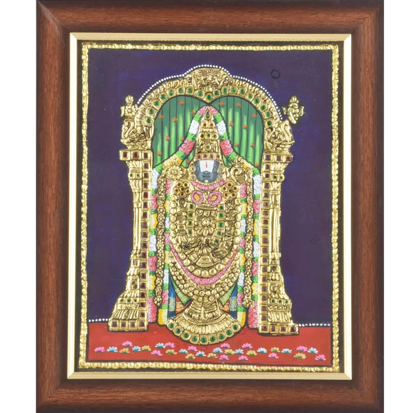"Mangala Art Balaji Indian Traditional Tamil Nadu Culture Tanjore Painting - 61x46cms (24""x18"")"