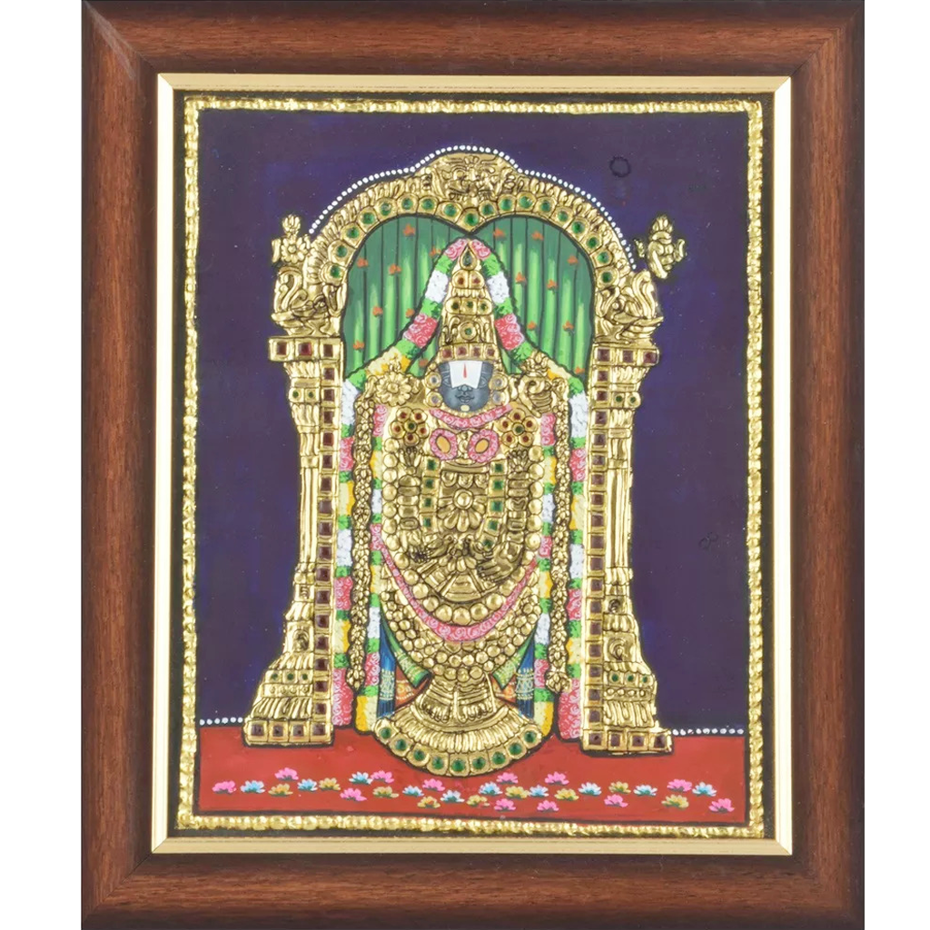 "Mangala Art Balaji Indian Traditional Tamil Nadu Culture Tanjore Painting - 38x30cm (15""x12"")"