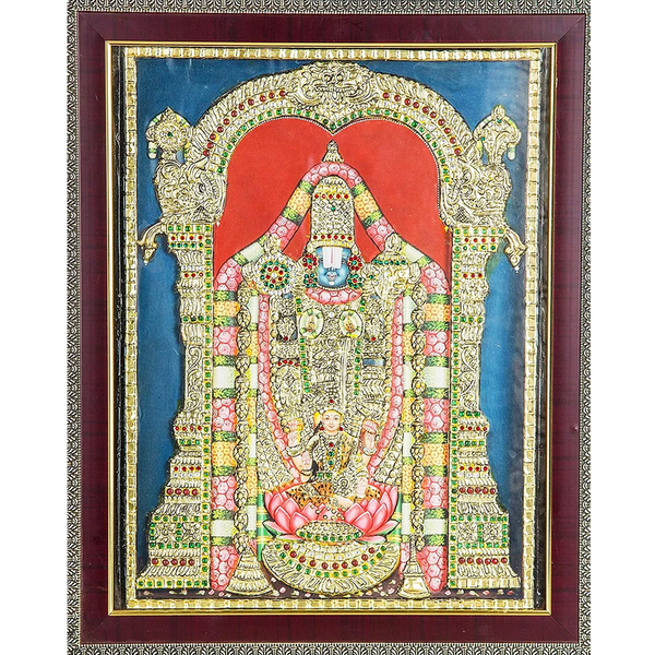 "Mangala Art Balaji Indian Traditional Tamil Nadu Culture Tanjore Painting - 38x30cms (15""x12"")"