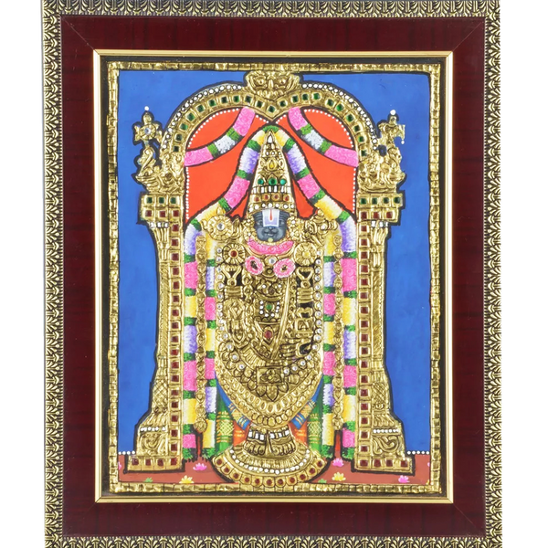 "Mangala Art Balaji Indian Traditional Tamil Nadu Culture Tanjore Painting Without Frame - 20x25cms (8""x10"")"