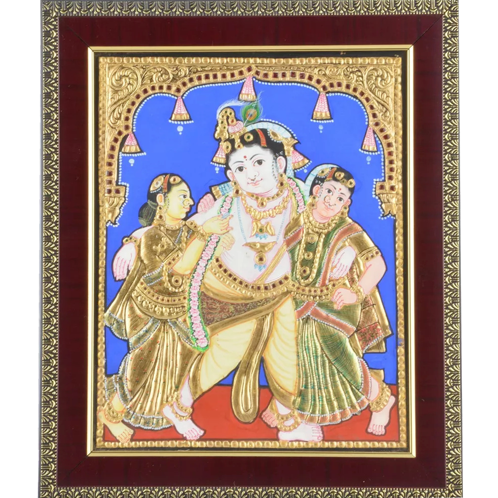 "Mangala Art Bama Rukhmani Krishna Indian Traditional Tamil Nadu Culture Tanjore Painting - 20x25cms (8""x10"")"