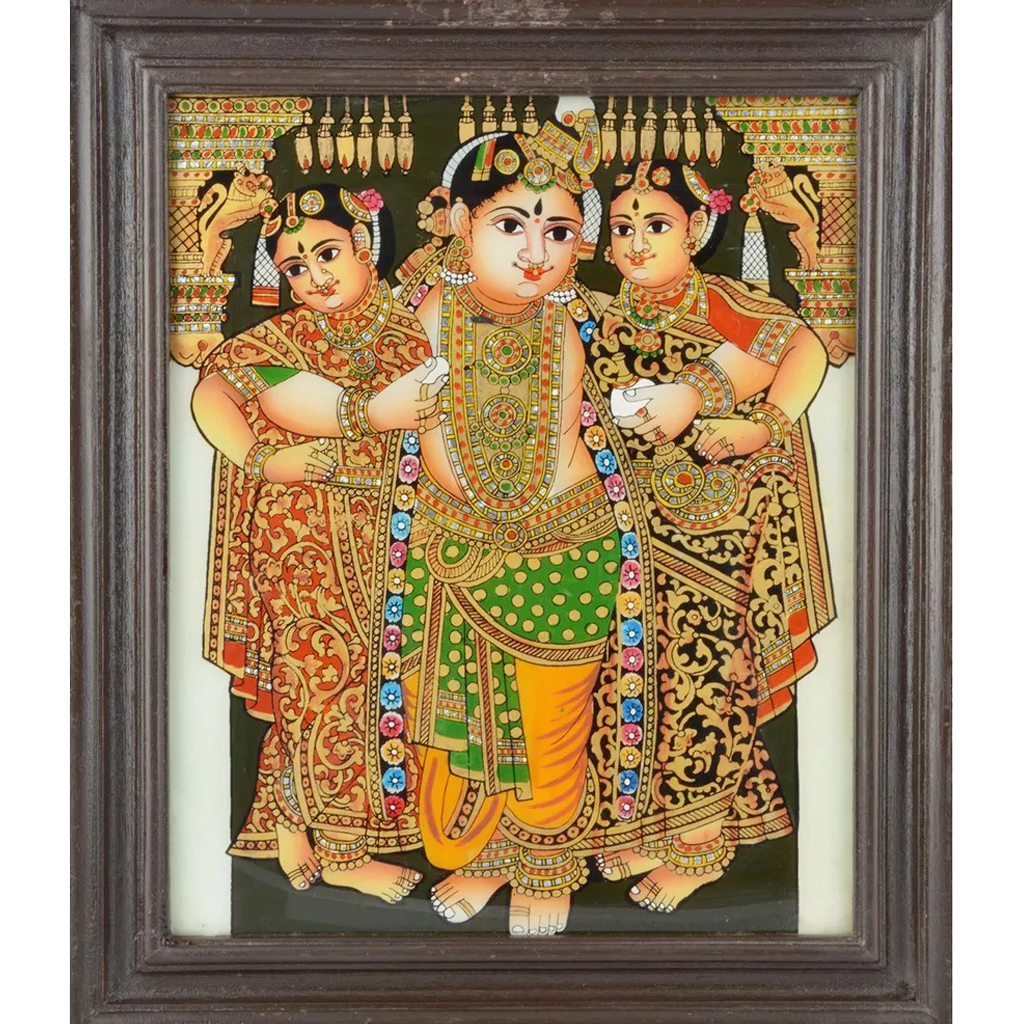"Mangala Art Bama Rukmani Krishna Indian Traditional Tamil Nadu Culture Tanjore Painting - 34x29cms (13.5""x11.5"")"