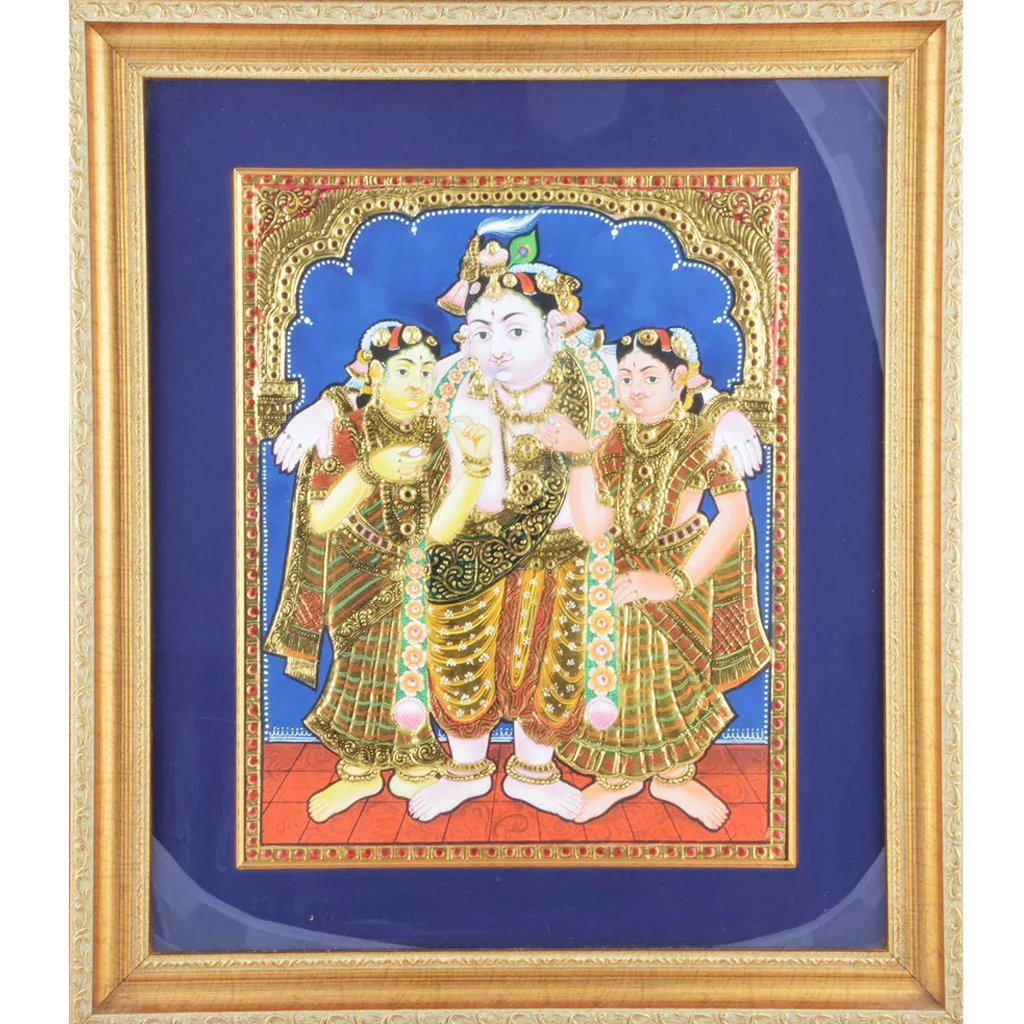 "Mangala Art Bama Rukmani Krishna Indian Traditional Tamil Nadu Culture Tanjore Painting - 45x53cms (18""x21"")"