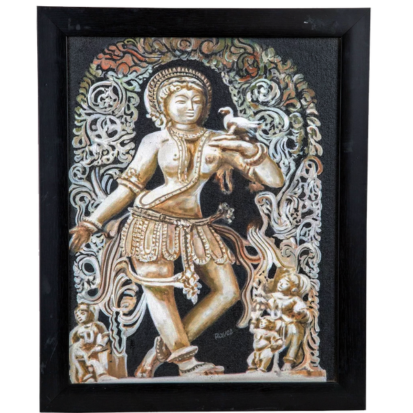 Mangala Arts Black & white Statue Wall Decor Canvas Oil Painting