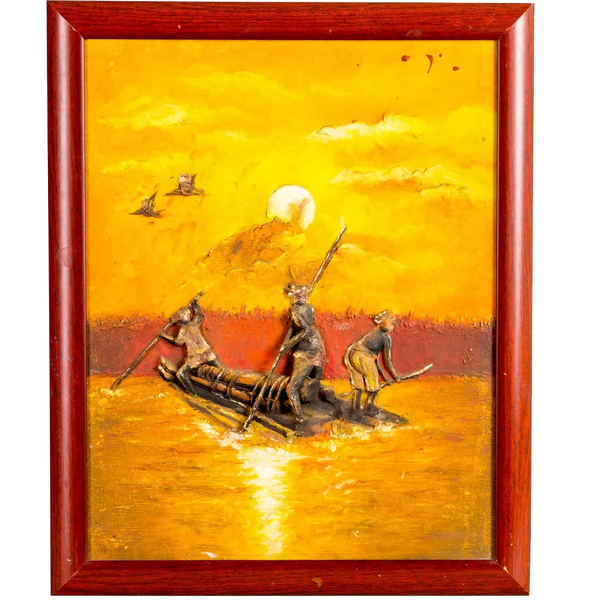 "Mangala Art Boat Mural Work Wall Decor 33x41cms (13""x16"")"