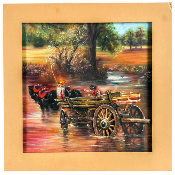 "Mangala Art Bullock Cart Mural Work Wall Decor Canvas Oil Painting - 35x35cms (14""x14"")"