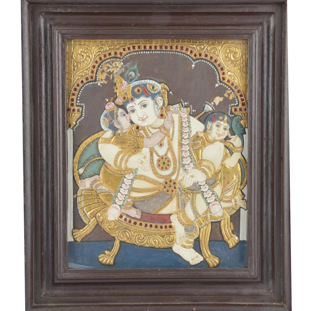 "Mangala Art Durbar Krishna Indian Traditional Tamil Nadu Culture Tanjore Painting - 32x26cms (12.5""x10.5"")"