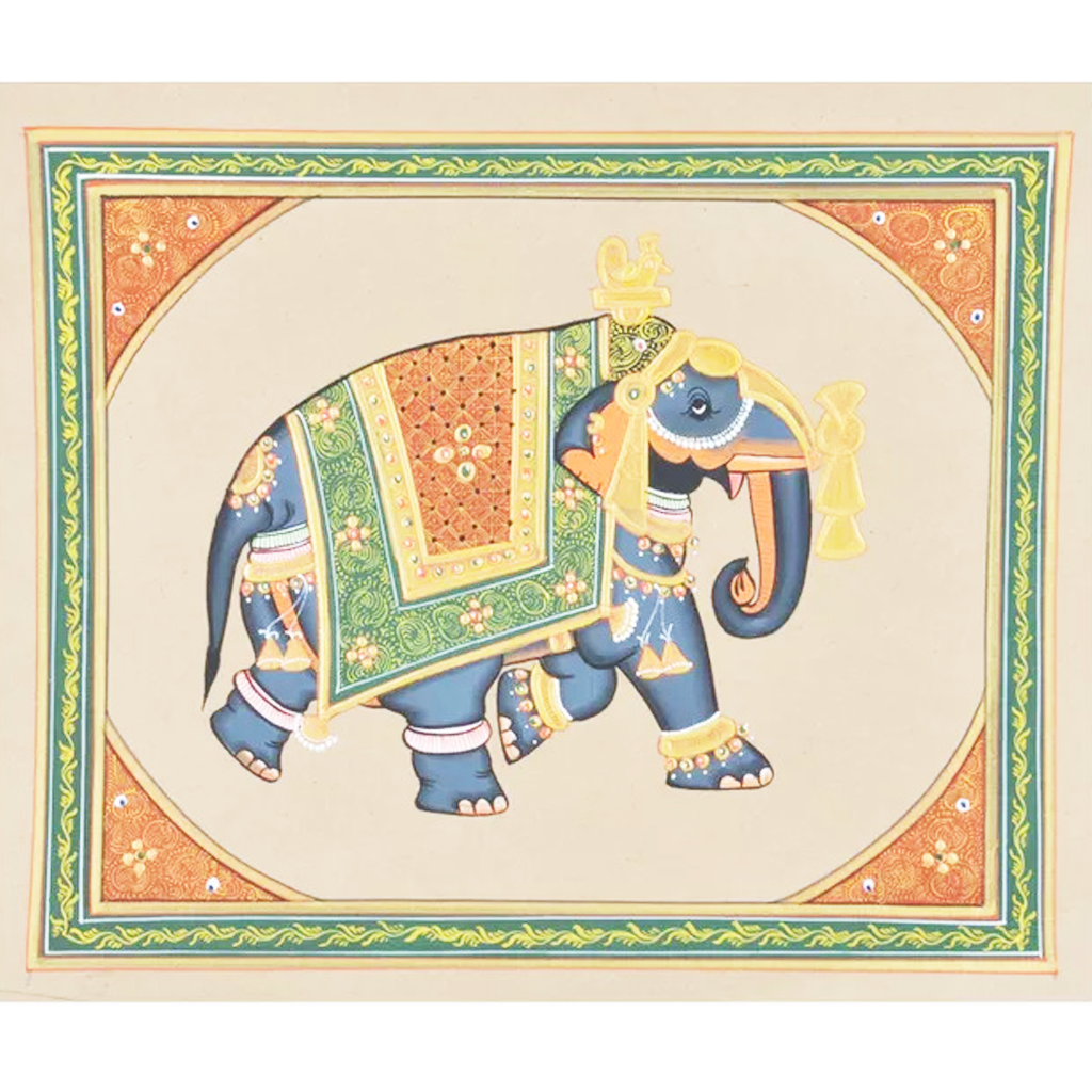 Elephant Paper Gold Paint Tanjore Painting