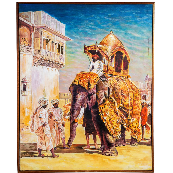 Mangala Arts Elephant Wall Decor Canvas Oil Painting
