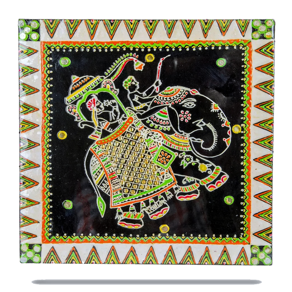 Elephant Warli Gurjari Art Work Wall Decor
