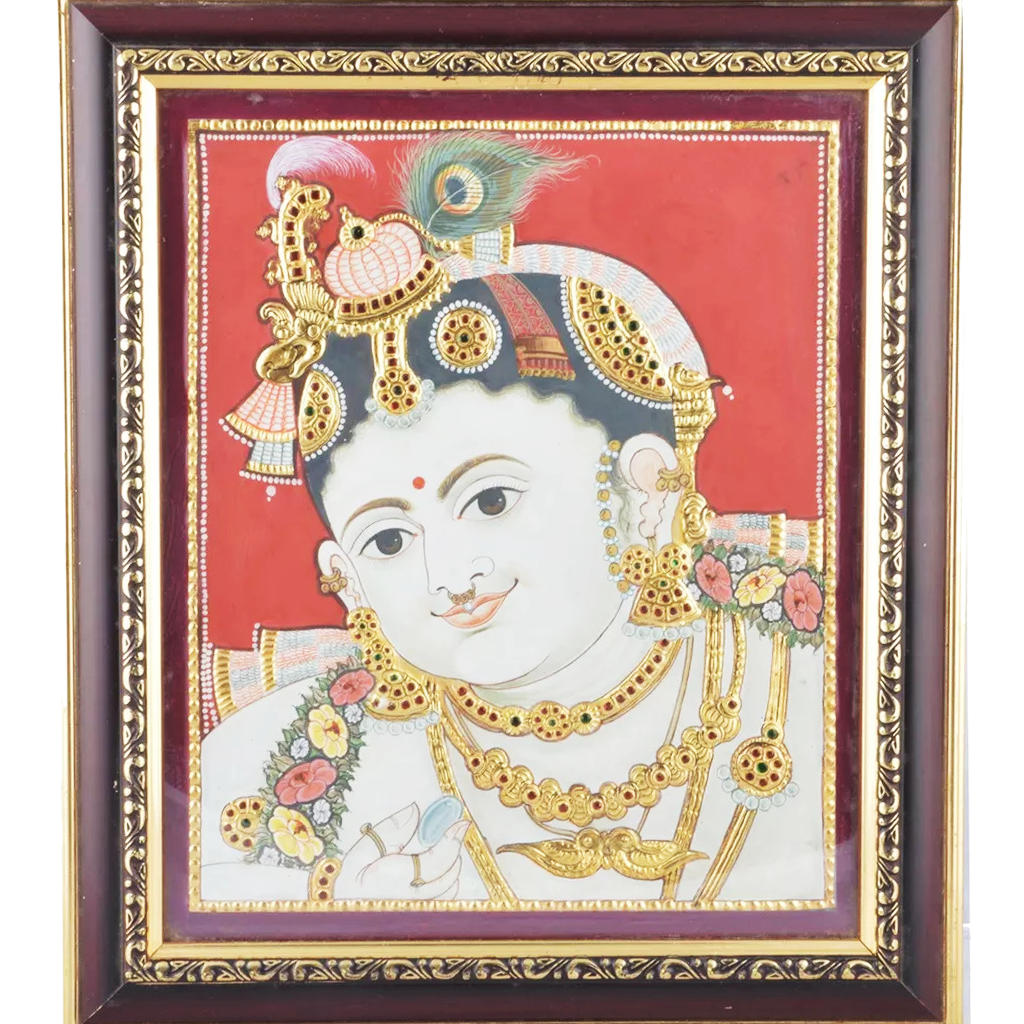 "Mangala Art Face Krishna Indian Traditional Tamil Nadu Culture Tanjore Painting - 38x30cms (15""x12"")"