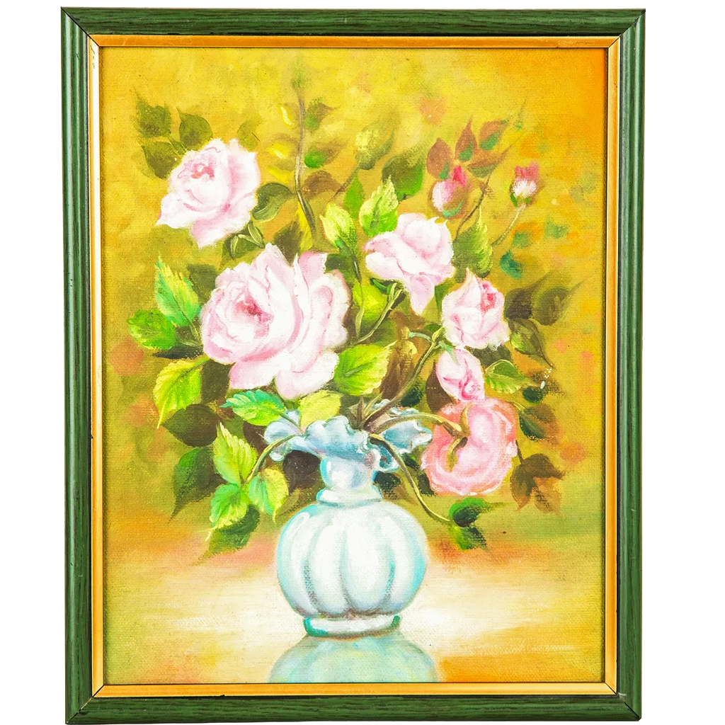 Mangala Arts Flower Vase Wall Decor Canvas Oil Painting