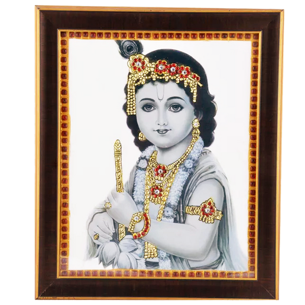 "Mangala Art Flute Krishna Indian Traditional Tamil Nadu Culture Acrylic Base Tanjore Painting - 25x30cms (10""x12"")"