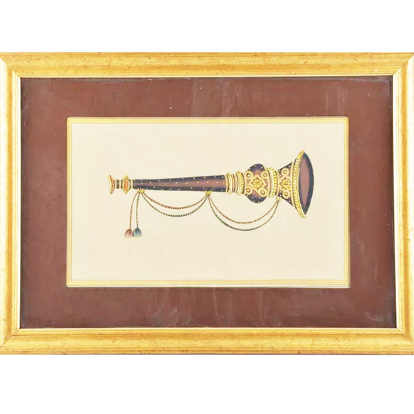 Flute Paper Gold Paint Tanjore Painting