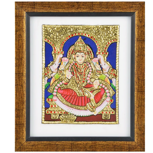 "Mangala Art Gaja Lakshmi Indian Traditional Tamil Nadu Culture Acrylic Base Tanjore Painting - 19x16cms (7.5""x6.5"")"