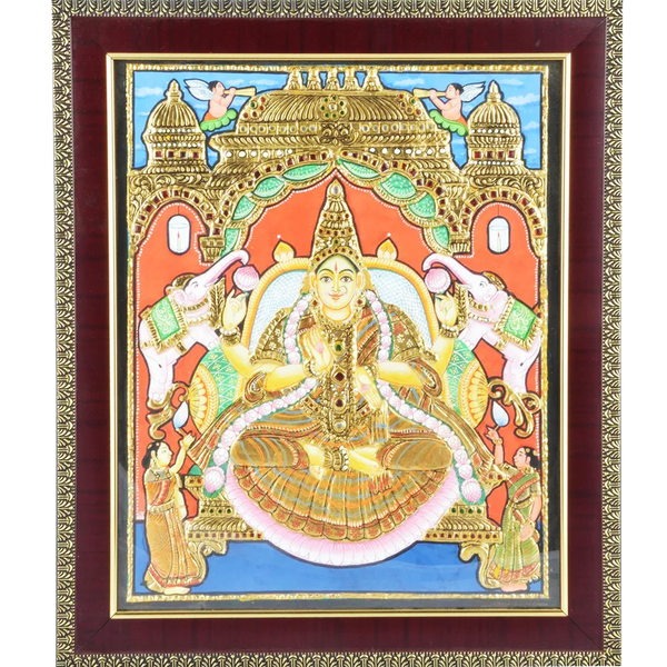 "Mangala Art Gaja Lakshmi Indian Traditional Tamil Nadu Culture Tanjore Painting - 25x30cms (10""x12"")"