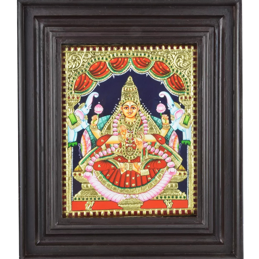 "Mangala Art Gaja Lakshmi Indian Traditional Tamil Nadu Culture Tanjore Painting - 33x29cms (13""x11.5"")"