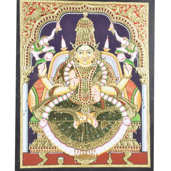 "Mangala Art Gaja Lakshmi Indian Traditional Tamil Nadu Culture Tanjore Without Frame Painting - 46x61cms (18""x24"")"