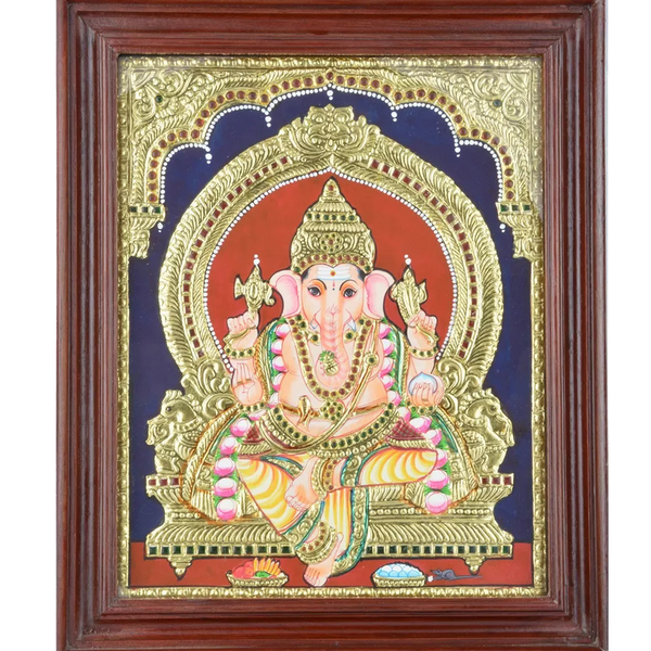 "Mangala Art Ganesha Indian Traditional Tamil Nadu Culture Tanjore Painting - 43x35cms (17""x14"")"