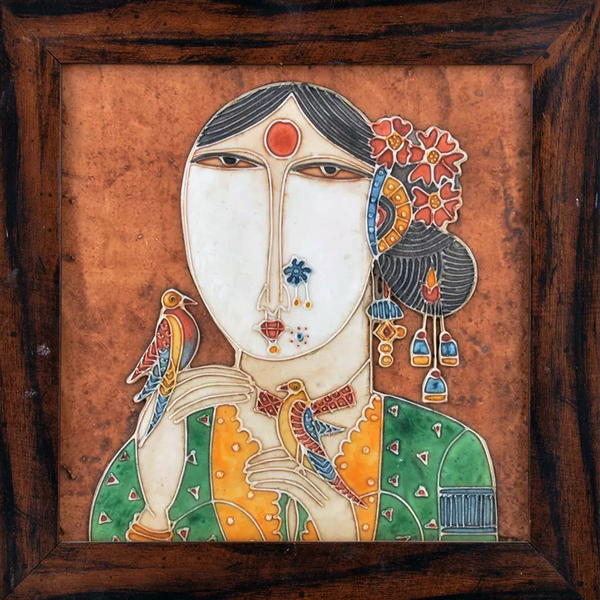 "Mangala Art Gurjari Mural Work Wall Decor 46x46cms (18""x18"")"