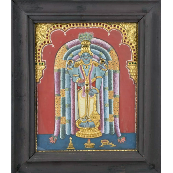 "Mangala Art Guruvayoorappan Antique Indian Traditional Tamil Nadu Culture Tanjore Painting - 32x26cms (12.5""x10.5"")"