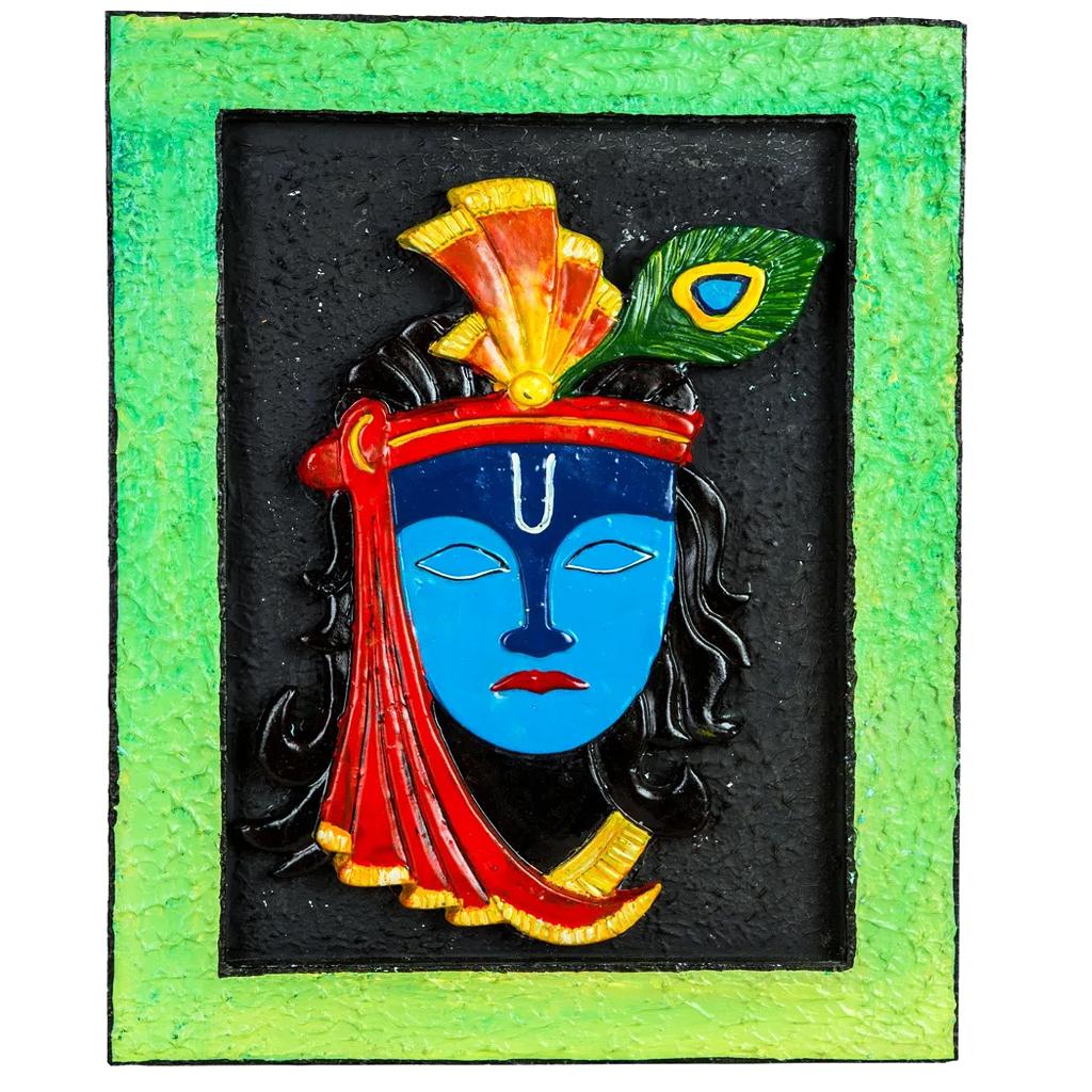 "Mangala Art Krishna Mural Work Wall Decor Canvas Oil Painting - 30x46cms (12""x18"")"