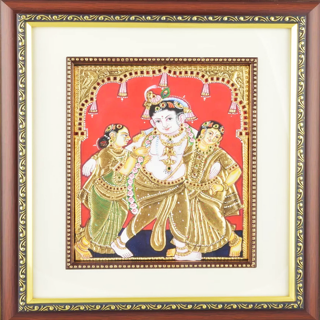 "Mangala Art Krishna with Bama Rukmani Indian Traditional Tamil Nadu Culture Tanjore Painting - 20x25cms (8""x10"")"