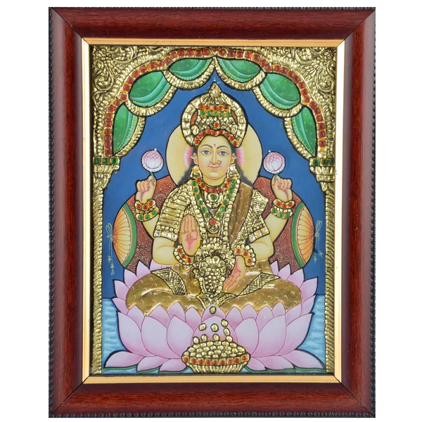"Mangala Art Lakshmi Indian Traditional Tamil Nadu Culture Acrylic Base Tanjore Painting - 25x30cms (10""x12"")"