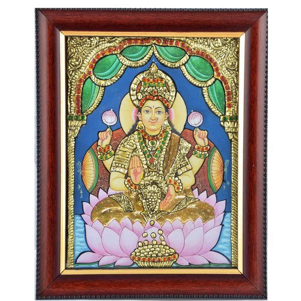 "Mangala Art Lakshmi Indian Traditional Tamil Nadu Culture Tanjore Acrylic Base Painting - 38x30cms (15""x12"")"