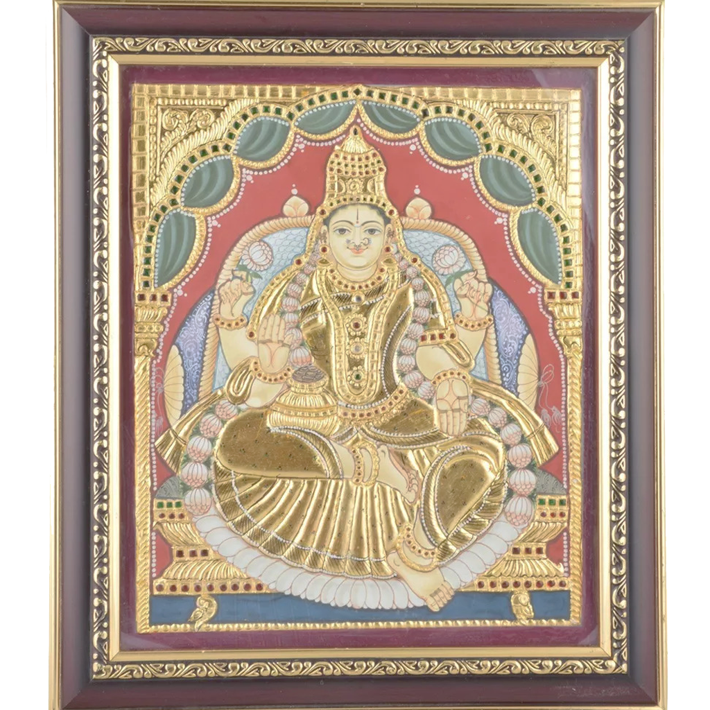"Mangala Art Lakshmi Indian Traditional Tamil Nadu Culture Tanjore Painting - 20x25cms (10""x12"")"