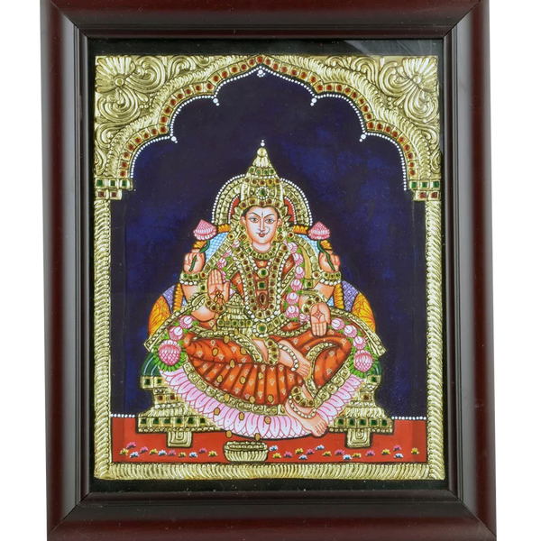 "Mangala Art Lakshmi Indian Traditional Tamil Nadu Culture Tanjore Painting - 25x30cms (10""x12"")"