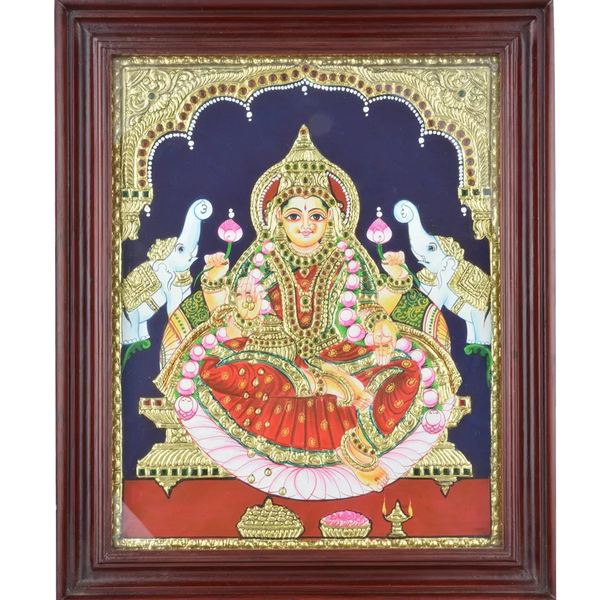"Mangala Art Lakshmi Indian Traditional Tamil Nadu Culture Tanjore Painting - 43x35cms (17""x14"")"