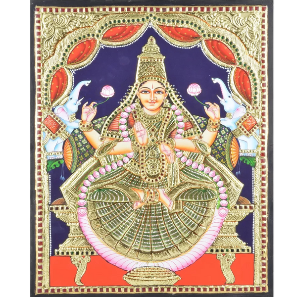 "Mangala Art Lakshmi Indian Traditional Tamil Nadu Culture Tanjore Painting - 45x35cms (18""x14"")"