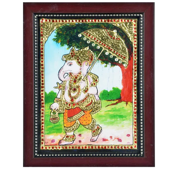 "Mangala Art Maapillai Vinayagar Indian Traditional Tamil Nadu Culture Tanjore Acrylic Base Painting -23x19cms (9""x7.5"")"
