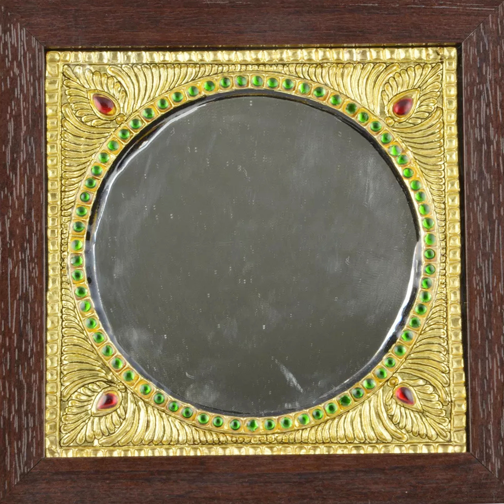 "Mangala Art Mirror Indian Traditional Tamil Nadu Culture Tanjore Painting - 18x18cms (7""x7"")"
