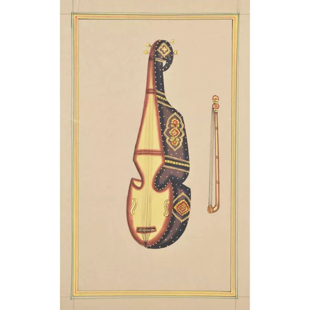 Musical Violin Paper Gold Paint Tanjore Artwork  Wall Decor