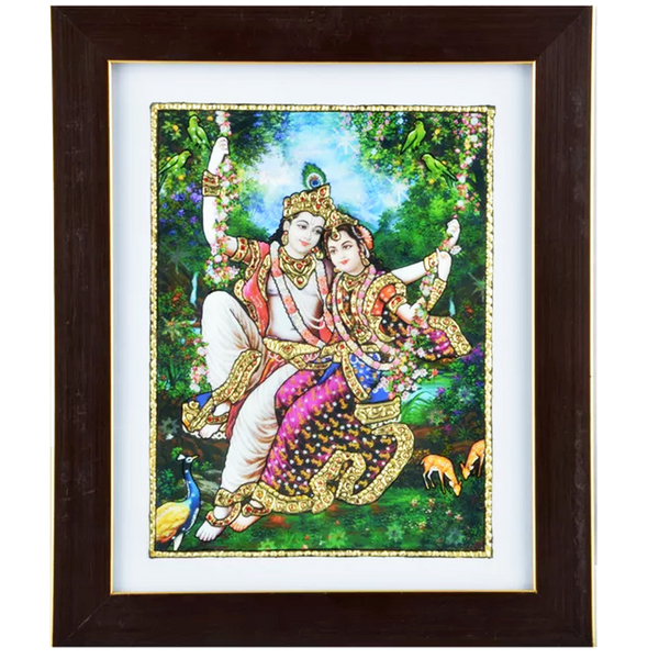 "Mangala Art Oonjal Krishna Indian Traditional Tamil Nadu Culture Acrylic Base Tanjore Painting - 25x30cms (10""x12"")"