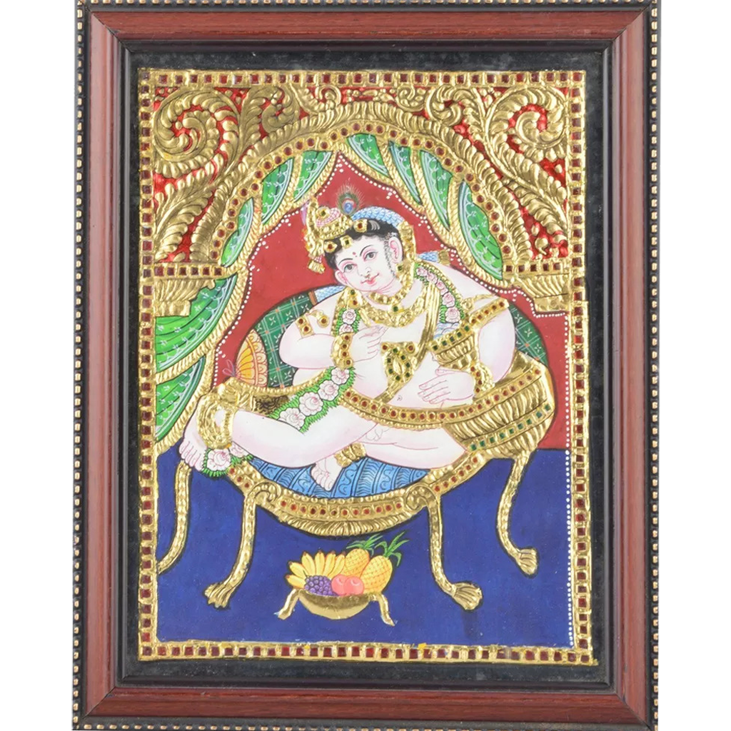 "Mangala Art Oonjal Krishna Indian Traditional Tamil Nadu Culture Tanjore Painting - 20x25cms (8""x10"")"