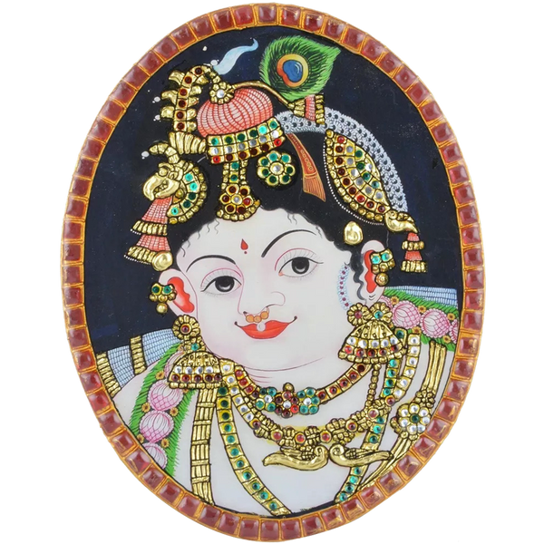 Mangala Art Oval Krishna Tanjore Artwork Box Type With Table Stand