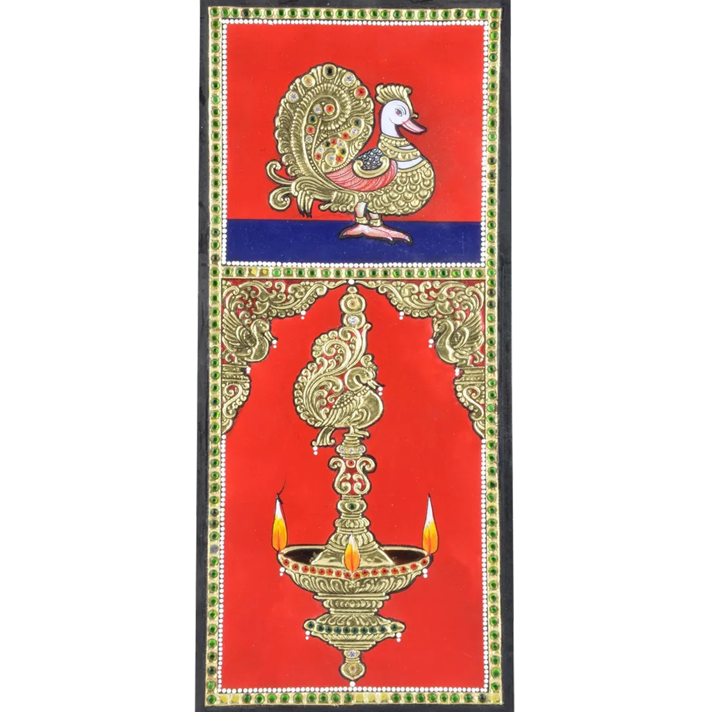 "Mangala Art Peacock Indian Traditional Tamil Nadu Culture Tanjore Painting - 30x15cms (12""x6"")"