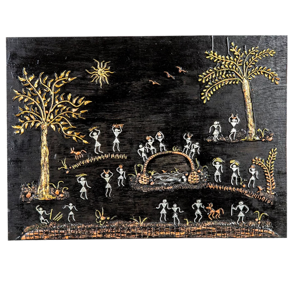 "Mangala Art People Warli Artwork Wall Hanging Wall Decor (16""x22"")"
