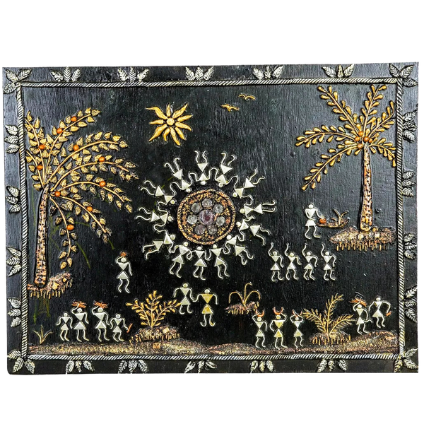 "Mangala Art People Warli Artwork Wall Hanging Wall Decor - (22""x18"")"